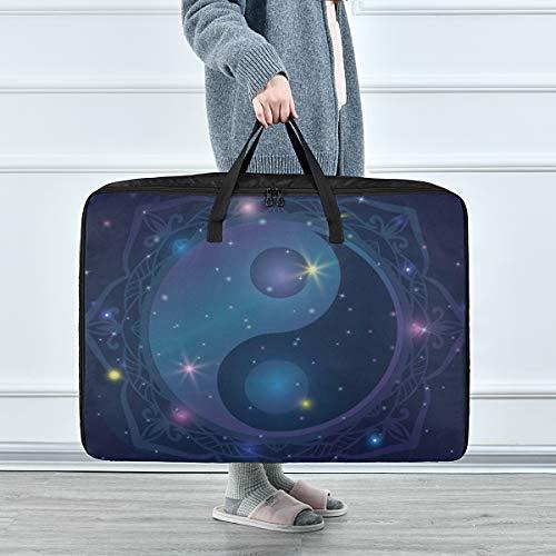 reopx bolsas de ropa para almacenamiento hermosa mandala dibujada a mano con taoísta yin yang almacenamiento bolsas con cremallera ropa 70 x 50 x 28 cm edredón colcha almohada equipaje mover totalizador de