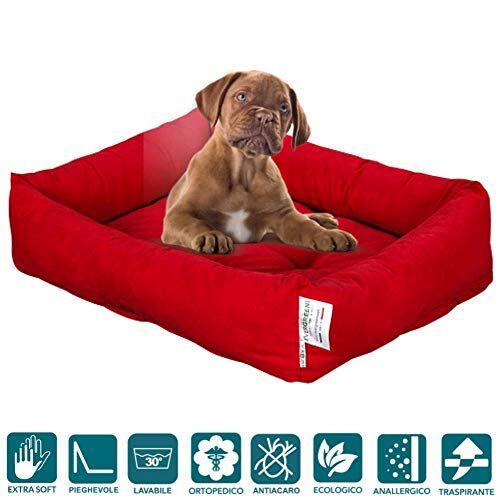 evergreenwebcama para perros 65x 85cm de tamaño media, relleno de lazo water foam efecto pluma suave lavable, caseta de interiores con cojín desenfundable, colchón para animales domésticos, rex