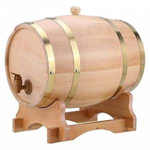 GOTOTOP Barril de Vino Vendimia de Madera Roble Dispensador para Cerveza Whisky Ron Bourbon Tequila Barril de Puerto (10L)