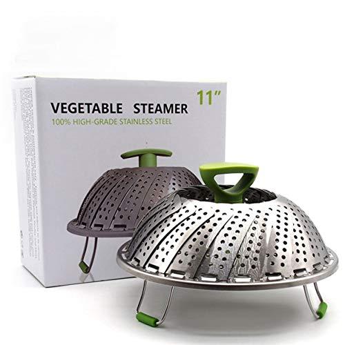 mxeco vaporizador de acero inoxidable de 11 pulgadas comida fruta verdura cesta vapores cocina vaporera plegable (plata)