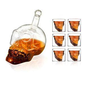 HEFUTE 7 Piezas Juego Craneo Vasos de chupito y Botella de Cristal (1 Botella cráneo 350ml + 6 Vasos 75ml), para Fiesta, Bar, Cena