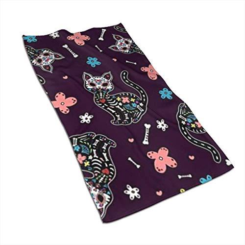 olie cam candy skull gatos toallas mexicanas patrón de personalidad de poliéster toalla súper absorbente