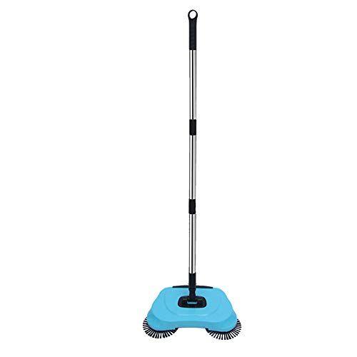 gaocunh aspiradora lazy dracarys limpieza doméstica empuje manual escoba automática - incluye escoba y canasta - aspiradora sin electricidad ambiental (azul/rojo)