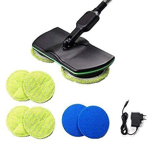 kengsiren recargable escoba eléctrica rotativa manejar limpiadores inalámbricos, tres-en-uno limpiador rotatorio, fregona máquina de pulido en seco húmedo (4 fibras de la alfombra y 2 de pulido),negro