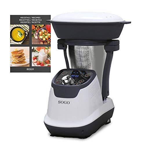 sogo ss-14545 robot de cocina multifunción, con libro de recetas, jarra acero inoxidable 1,75 litros, vaporera 2 litros, 1200 w, cocina por inducción, bpa free