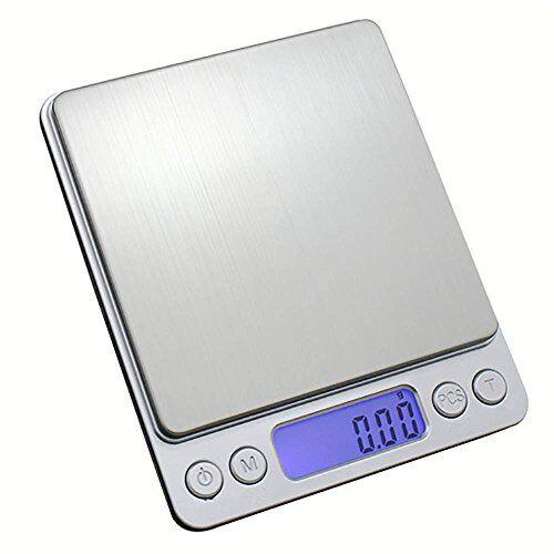 kompassswc báscula digital de cocina, grande, de acero inoxidable, electrónica, de precisión, para cartas, digital, profesional, de diamante, alta precisión, hasta 0,1 g (2 kg de peso máximo)