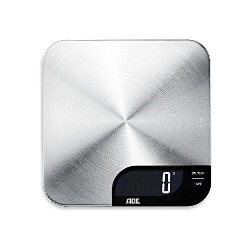 ade báscula digital de cocina ke1600 alessia. obtenga peso preciso de hasta 5kg. electrónica con superficie de pesado en acero inoxidable.tara. incl. batería. color plata