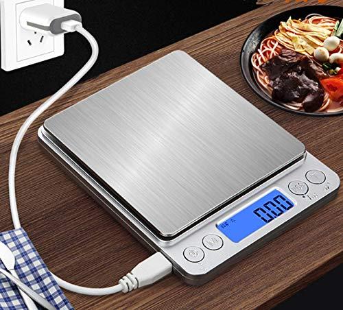marbeine - mini báscula de cocina digital de precisión, 500 g/0,01 g, recargable por usb + 2 bandejas