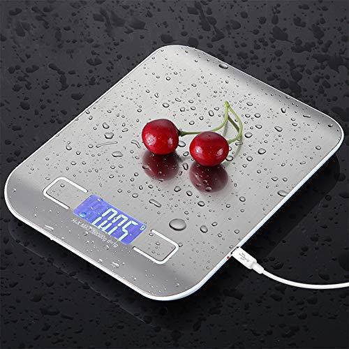 mingfuxin báscula de cocina digital,11lb/5kg báscula de comida recargable usb báscula de cocina electrónica de acero inoxidable con función de apagado automático (11lb/5kg)