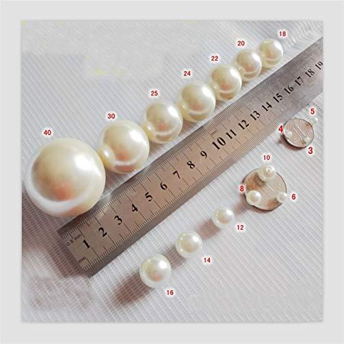 JYHSHENG Remaches de cuero, Tamaño múltiple Dos orificios marfil blanco imitación perla remaches redondo cuentas de costura DIY joyería ropa hecha a mano accesorio whing beads (Color : 24mm(3pcs))