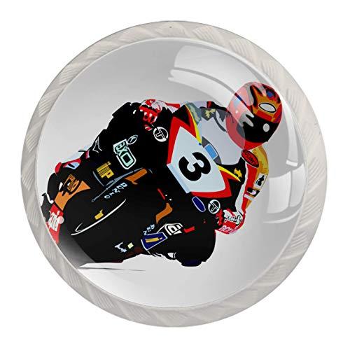 Z&Q Tiradores de gabinete Coche de carreras de motos de dibujos animados Tiradores redondos de vidrio de cristal para cajones de armario Puerta de armario 4 piezas 3.5x2.8cm