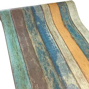 Meboom Vinilo adhesivo para pared de madera, diseño vintage, color azul