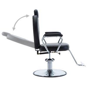 vidaXL Silla de peluquería de cuero sintético negra