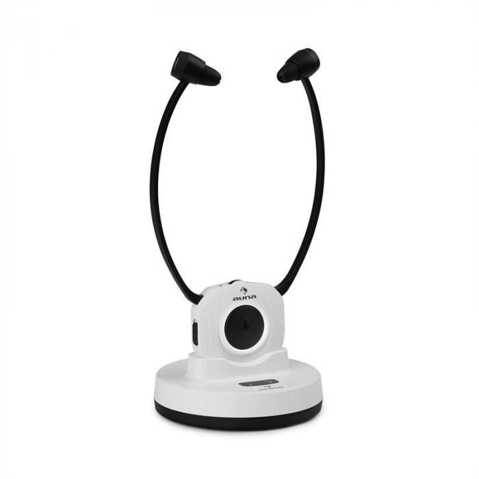 Auna Stereoscope auriculares de barbilla inalámbricos InEar 20m 2,4GHz TV/HiFi/CD/MP3 batería blanco