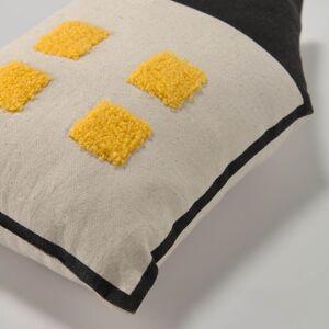 Kave Home Cojín casa Nisi 100% algodón orgánico (GOTS) beige y negro 35 x 20 cm
