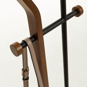 Kave Home Perchero Magali acero negro y contrachapado de roble 172 cm