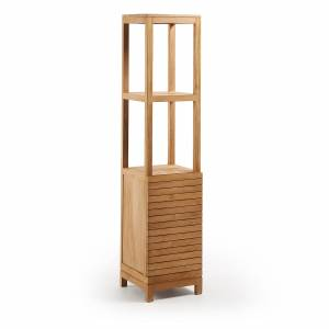 Kave Home Armario de baño Kuveni 40 x 182 cm de madera maciza de teca