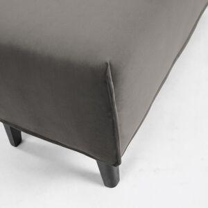 Kave Home Banqueta Dyla terciopelo gris y madera maciza de haya 111 cm