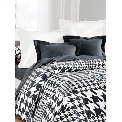 Hogar Funda de almohada estampado PATA DE GALLO blanco/gris antracita