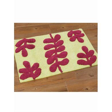 Hogar Alfombra de baño bicolor rizo 100% algodón hojas verde/frambuesa