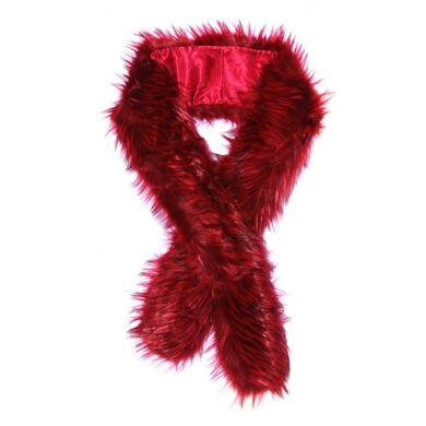 Trend Capsule By  Estola de pelo sintético bicolor con cierre de gancho rojo