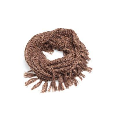 Bufanda bicolor con detalle de largos flecos chocolate