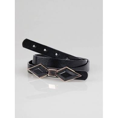 Cinturón de mujer símil piel con lazo negro