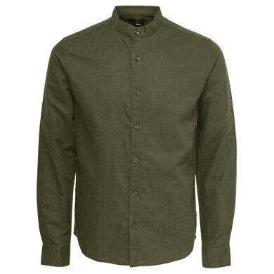Only & Sons Camisa de lino bajo redondeado caqui