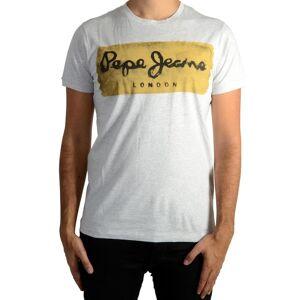 PEPE JEANS Camiseta con cuello redondo y manga corta, con estampado delante GRIS