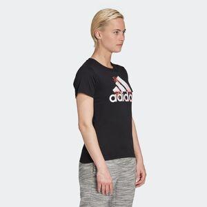 Adidas Camiseta con cuello redondo de manga corta, con logotipo NEGRO