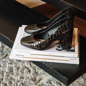 LA REDOUTE COLLECTIONS Zapatos de tacón alto y charol, efecto cocodrilo NEGRO