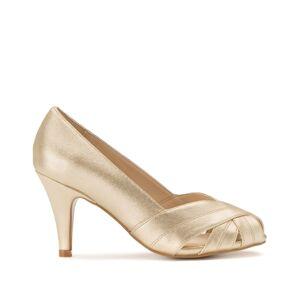LA REDOUTE COLLECTIONS PLUS Zapatos de tacón de piel con puntera abierta DORADO