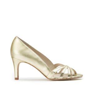 LA REDOUTE COLLECTIONS Zapatos de tacón de piel metalizada con tacón alto y puntera abierta DORADO