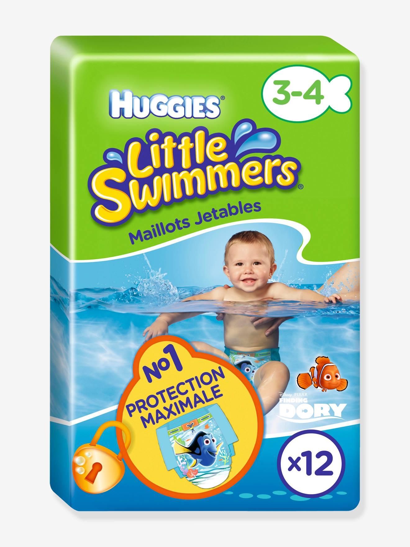 LITTLE SWIMMERS Pañal de piscina desechable HUGGIES Little Swimmers, talla 3-4, lote de 12 verde medio estampado