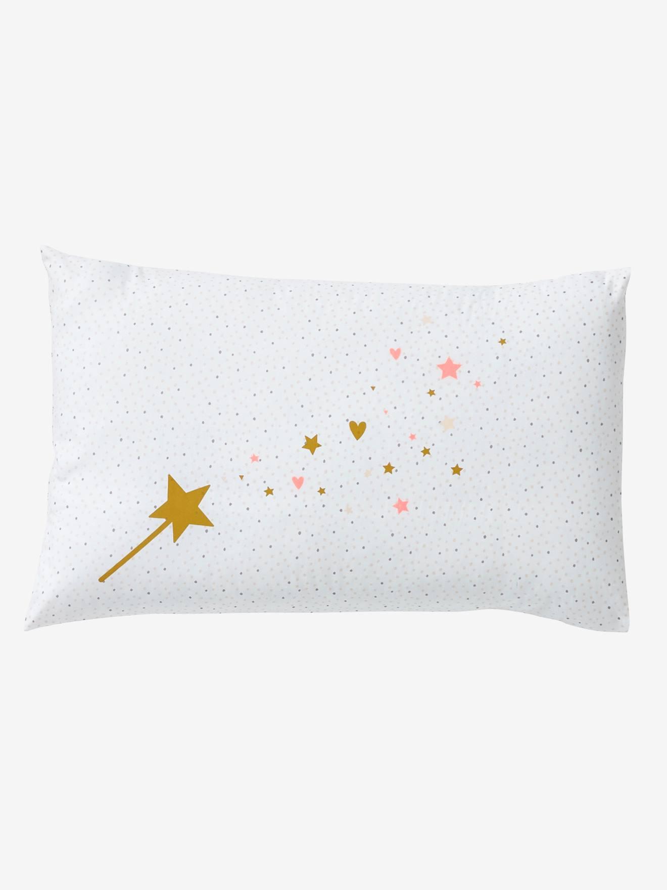 VERTBAUDET Funda para almohada de bebé FANTASÍA crudo/rosa