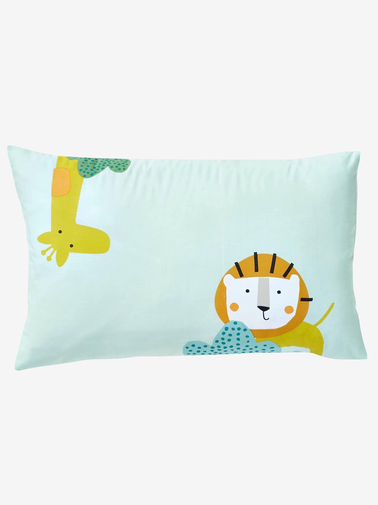 VERTBAUDET Funda de almohada para bebé JUNGLE PARTY verde estampado