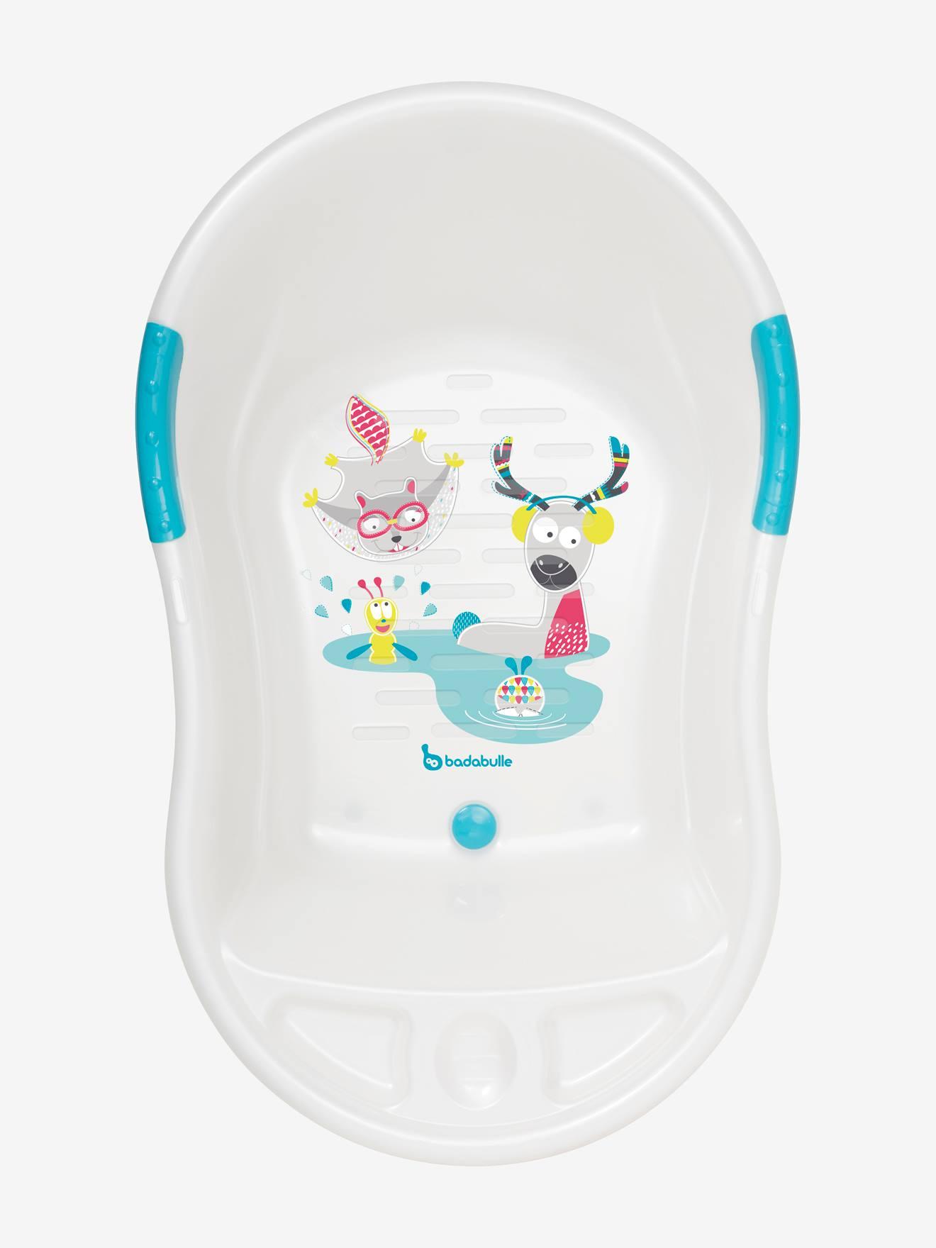 BADABULLE Bañera para bebé BADABULLE ergodivertida Montaña blanco claro liso con motivos