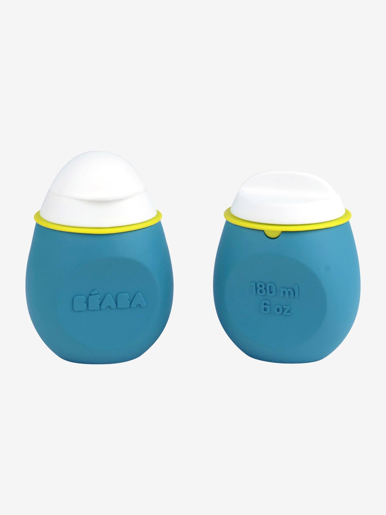 BEABA Lote de cantimploras para compotas BEABA Babysqueez' 2 en 1 + Squeez'portion azul claro a rayas
