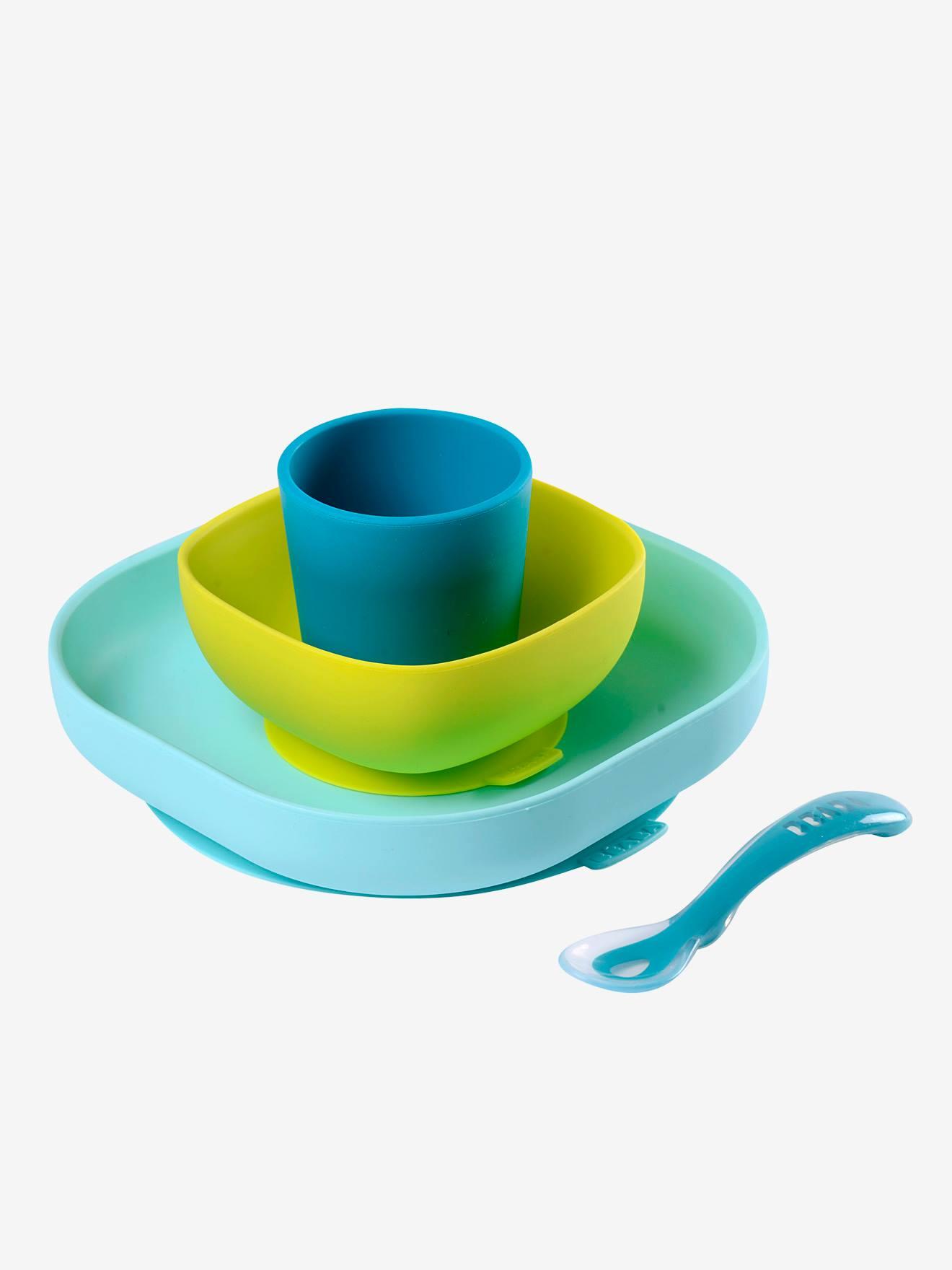 BEABA Set vajilla con 4 piezas de silicona BEABA azul medio bicolor/multicolor