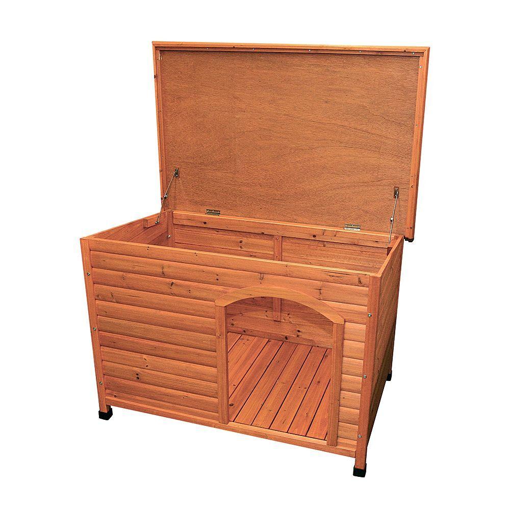 trixie natura caseta de madera  de techo plano para perros.- m: 85 x 60 x 58 cm (l x an x al)