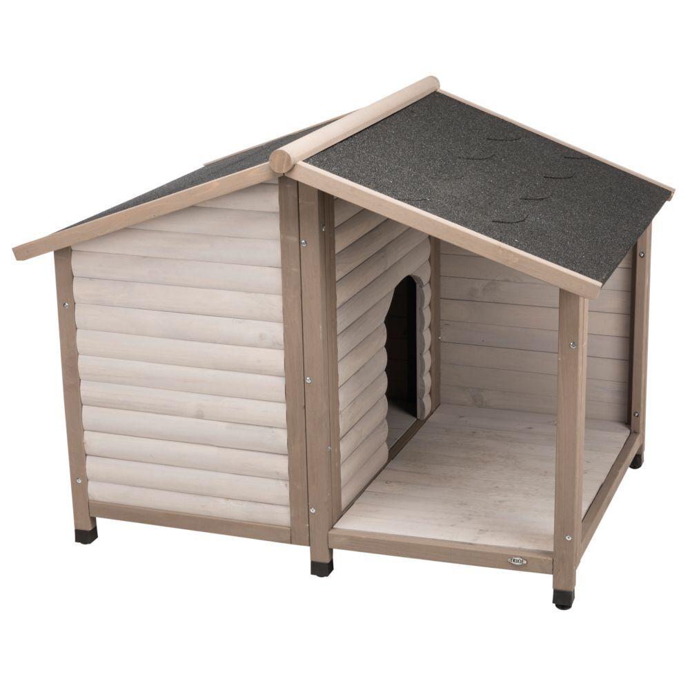 trixie natura caseta  lodge con terraza para perros - m/l: 130 x 100 x 105 cm (an x p x al) - gris (* 2 paquetes)