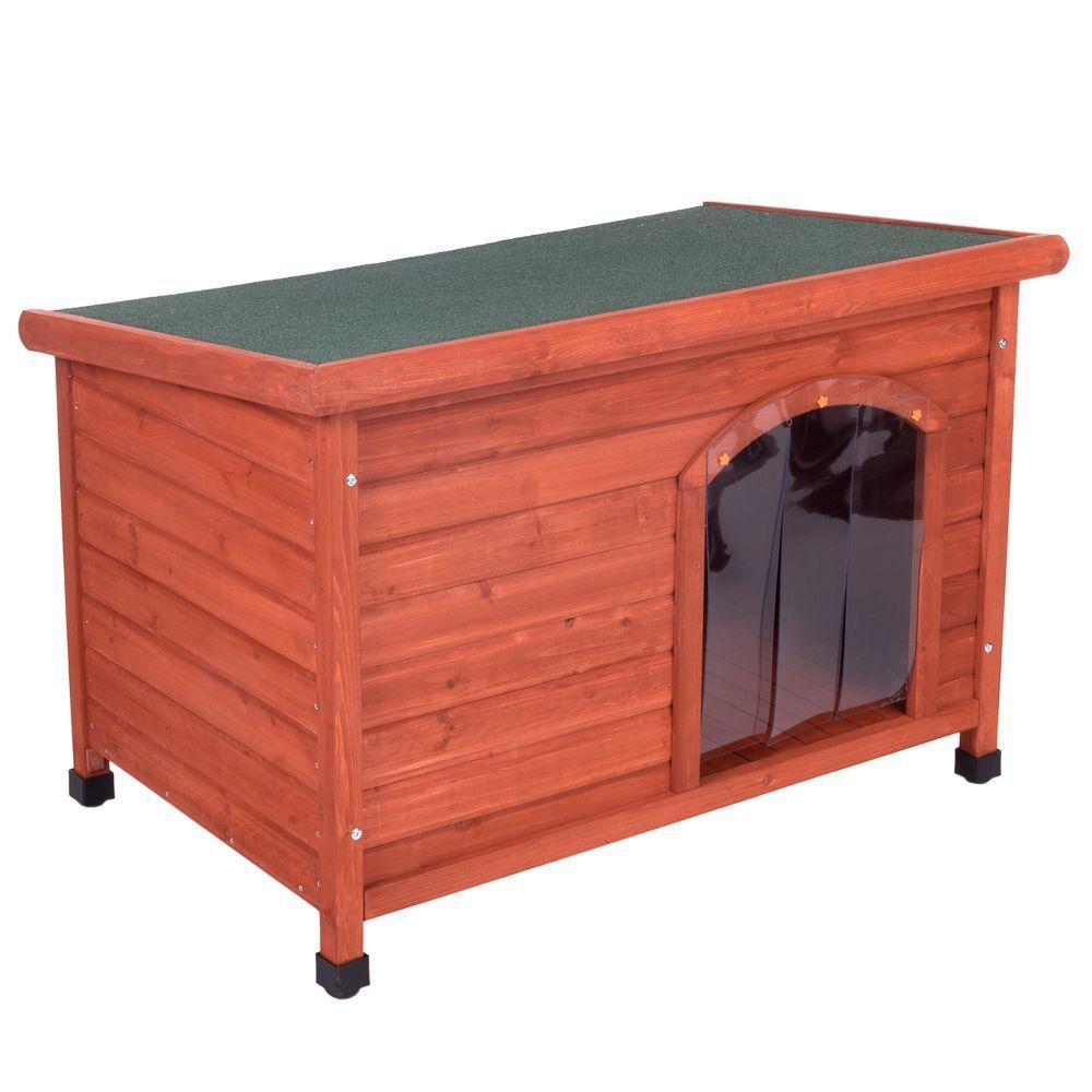zooplus exclusive caseta de madera woody con puerta para perros - l: 115 x 76 x 80 cm (an x p x al)