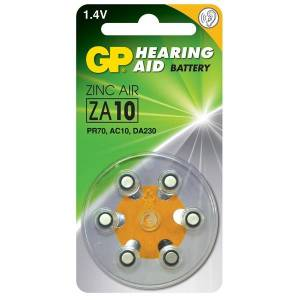 Kuulolaiteparisto ZA10 sinkki, ilma 1,4V 6 kpl
