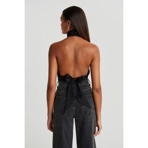 Gina Tricot Satin tie back top - Black (9000) - Size: 34
