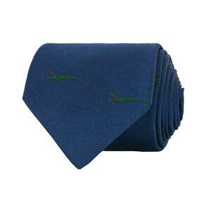 Drake's Woven Silk Jacquard Crocodile Tie 8 cm Blue