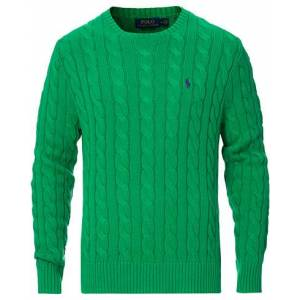 Ralph Lauren Cotton Cable Crew Neck Pullover Green