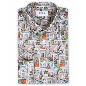 Eton Slim Fit Twill Ragamala Printed Shirt Multi