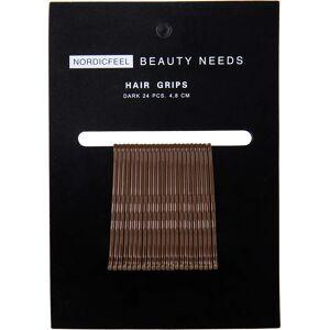 Nordicfeel Beauty Needs, Hair Grips Dark 24pcs 4,8cm Nordicfeel Beauty Needs Hiuslenkit & hiusnauhat