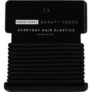 NordicFeel Beauty Needs Everyday Hair Elastics, Black 10 Pcs NordicFeel Beauty Needs Hiuslenkit & hiusnauhat