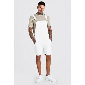 Boohoo Short Denim Dungarees  - white - Size: Large